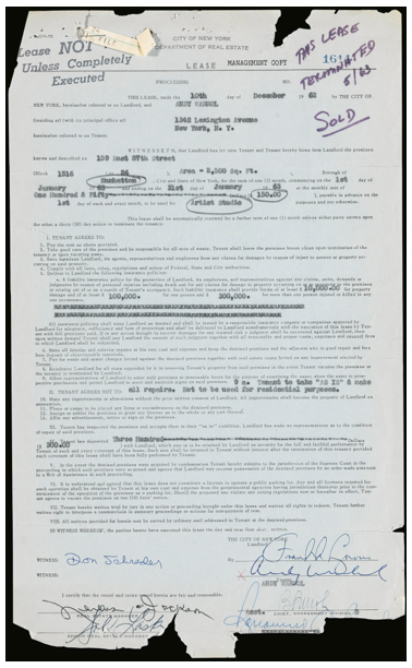 [ANDY WARHOL] OFFICIAL LEASE FOR THE ARTIST'S FIRST STUDIO