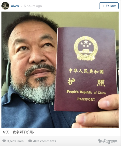 Ai Weiwei gets his Chinese Passport back