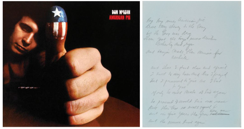 "Don McLean's original manuscript for ""American pie"""