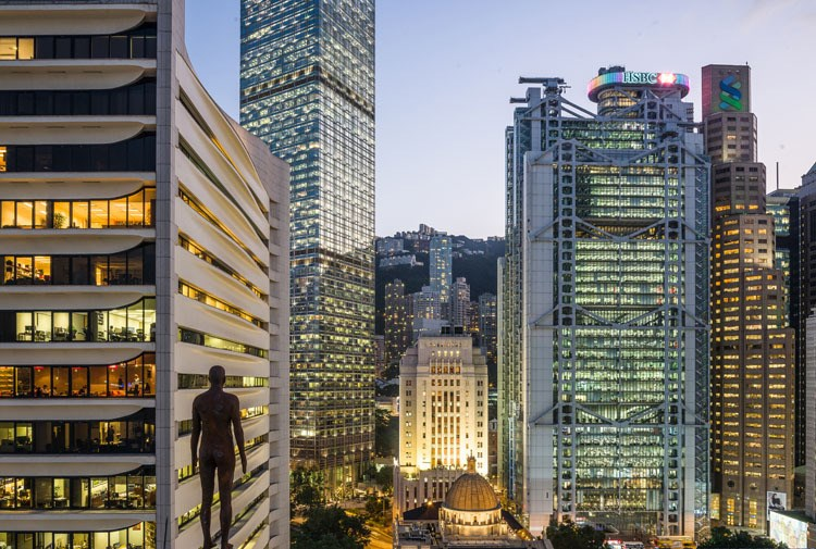 Event Horizon by Antony Gormley is on view in Hong Kong