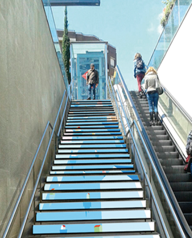 Metro stairs get makeover in Barcelona