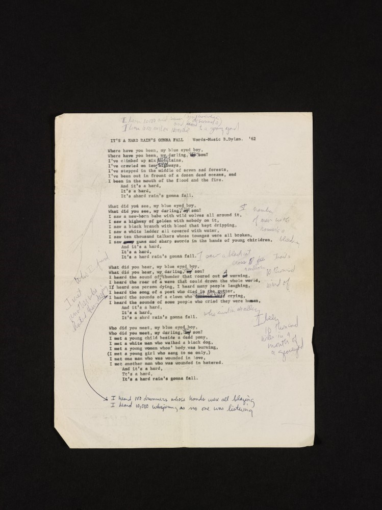 Bob Dylan's Never-Before-Seen Draft for A Hard Rain's A-Gonna Fall
