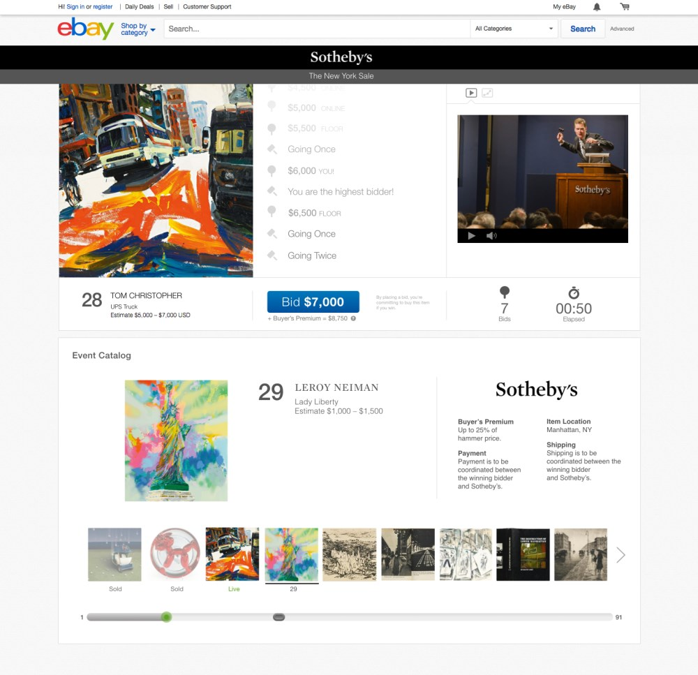 eBay launches Sotheby's live auctions experience