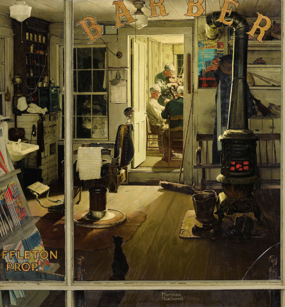 SHUFFLETON'S BARBERSHOP by Norman Rockwell
