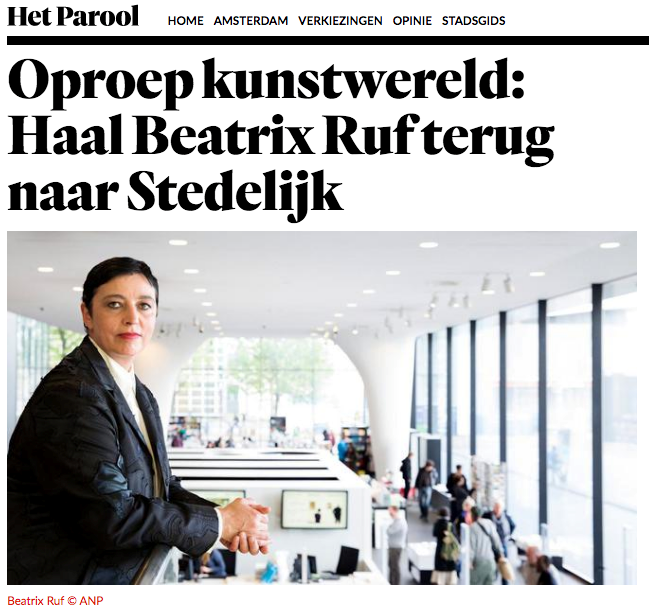 Prominent Figures of the Art World Launch Ad in Dutch Paper Het Parool: Call Ruf Back