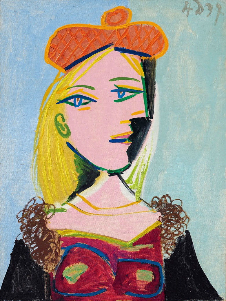 Pablo Picasso (1881-1973), Femme au béret orange et au col de fourrure (Marie‐Thérèse), executed 4 December 1937. Oil on canvas. 24⅛ x 18⅛ in (61.2 x 46.1 cm)