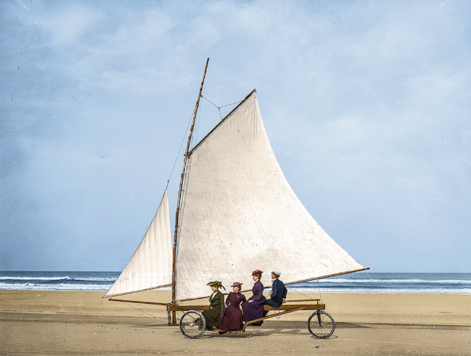 1910 : Sailing on the beach, Ormond, Florida (Marie-Lou Chatel) by Marie-Lou Chatel
