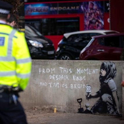 'New Banksy' as Extinction Rebellion Protests at Marble Arch
