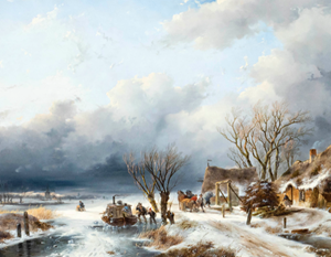 Frozen Dutch River by Andreas Schelfhout at Bernaerts